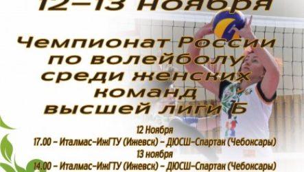 В Ижевске 12-13 ноября состоится 2-й тур Чемпионата России по волейболу среди женских команд высшая лига Б
