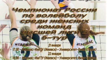 В Ижевске 21-22 января состоится 6-й тур Чемпионата России по волейболу среди женских команд высшая лига Б