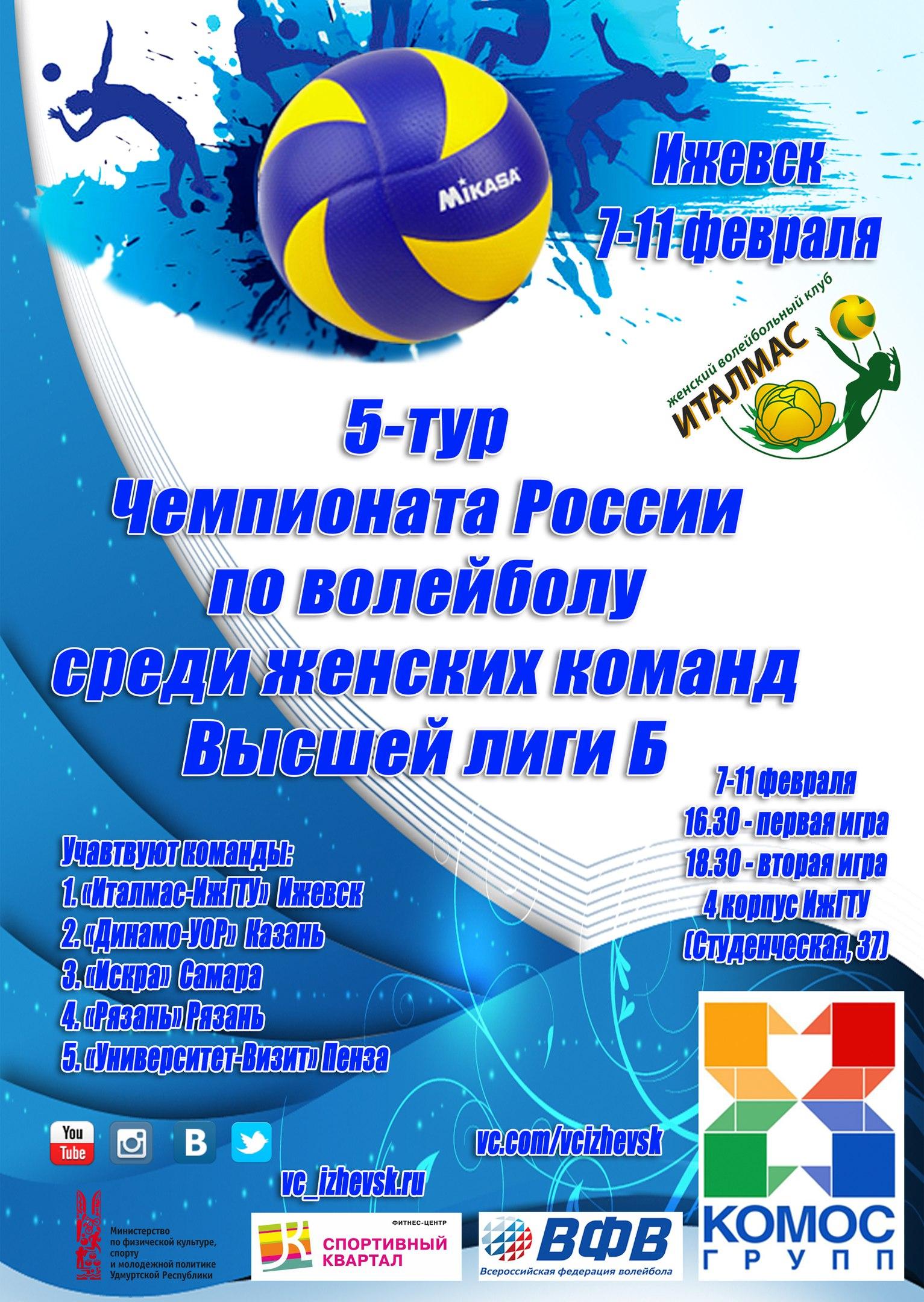 Расписание 5-го тура 7-11 февраля г. Ижевск